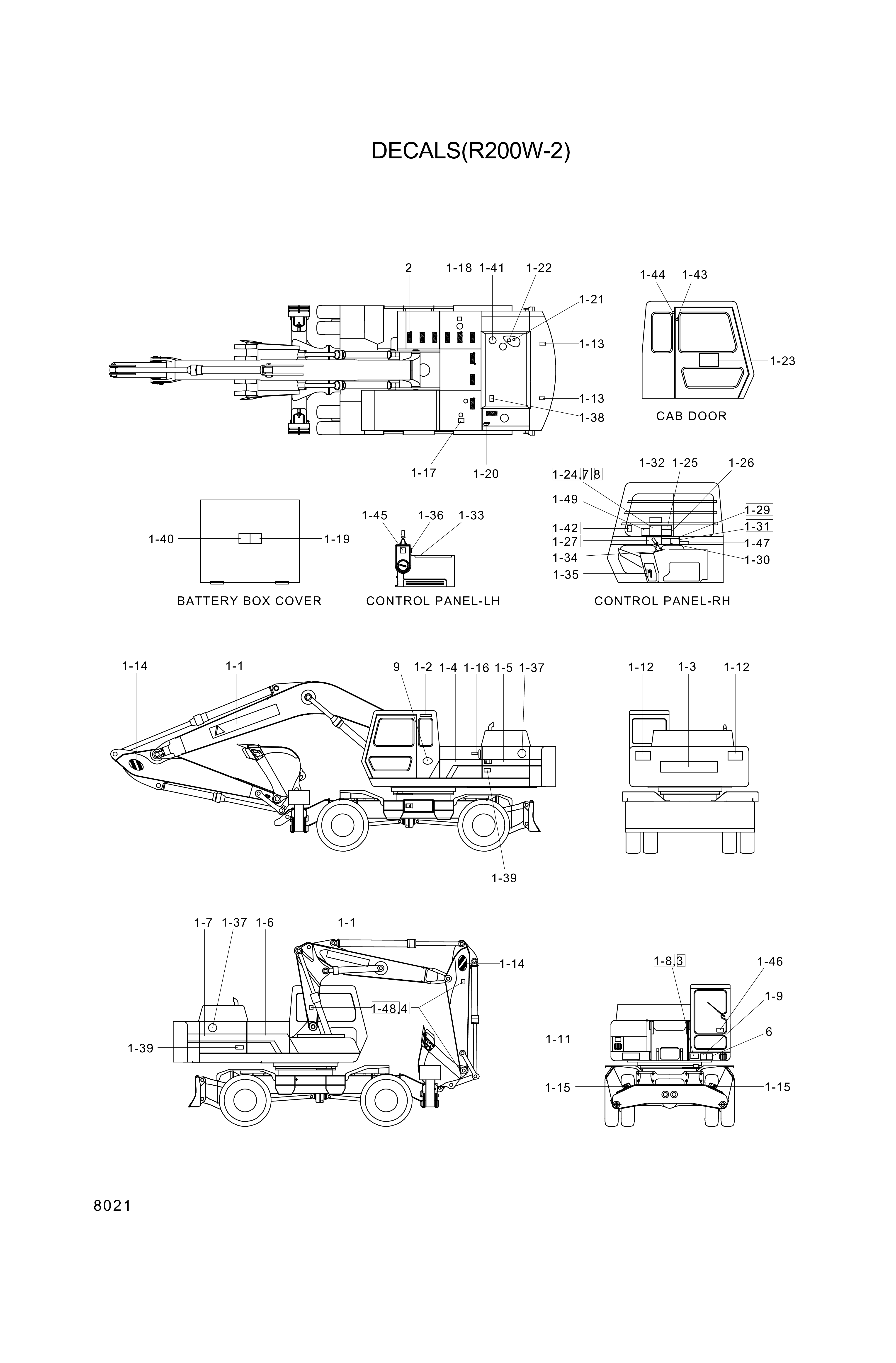 drawing for Hyundai Construction Equipment 93E4-1021 - DECAL-SIDE CHARACTER LH B