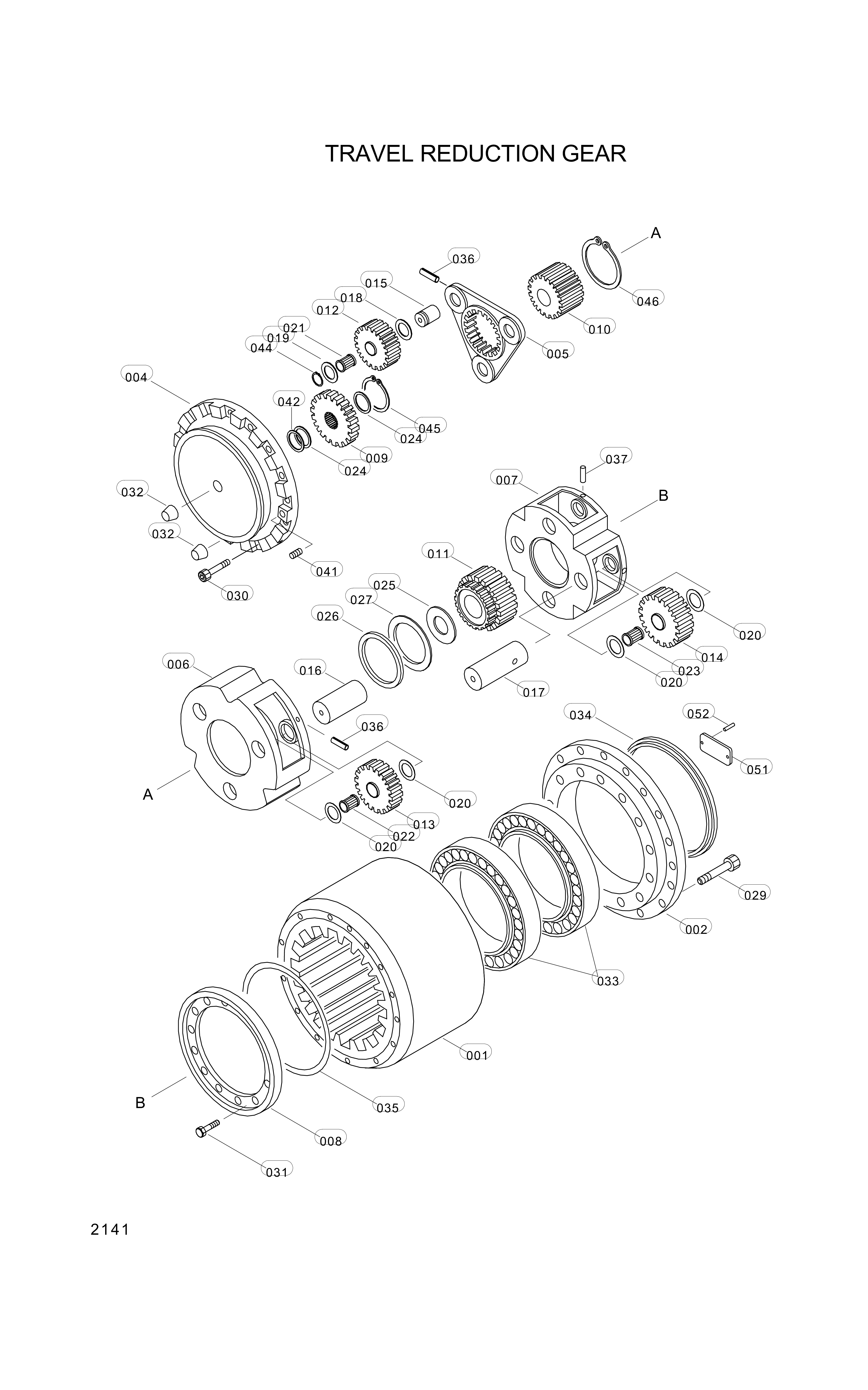 drawing for Hyundai Construction Equipment 3530800233 - RETAINER-BEARING
