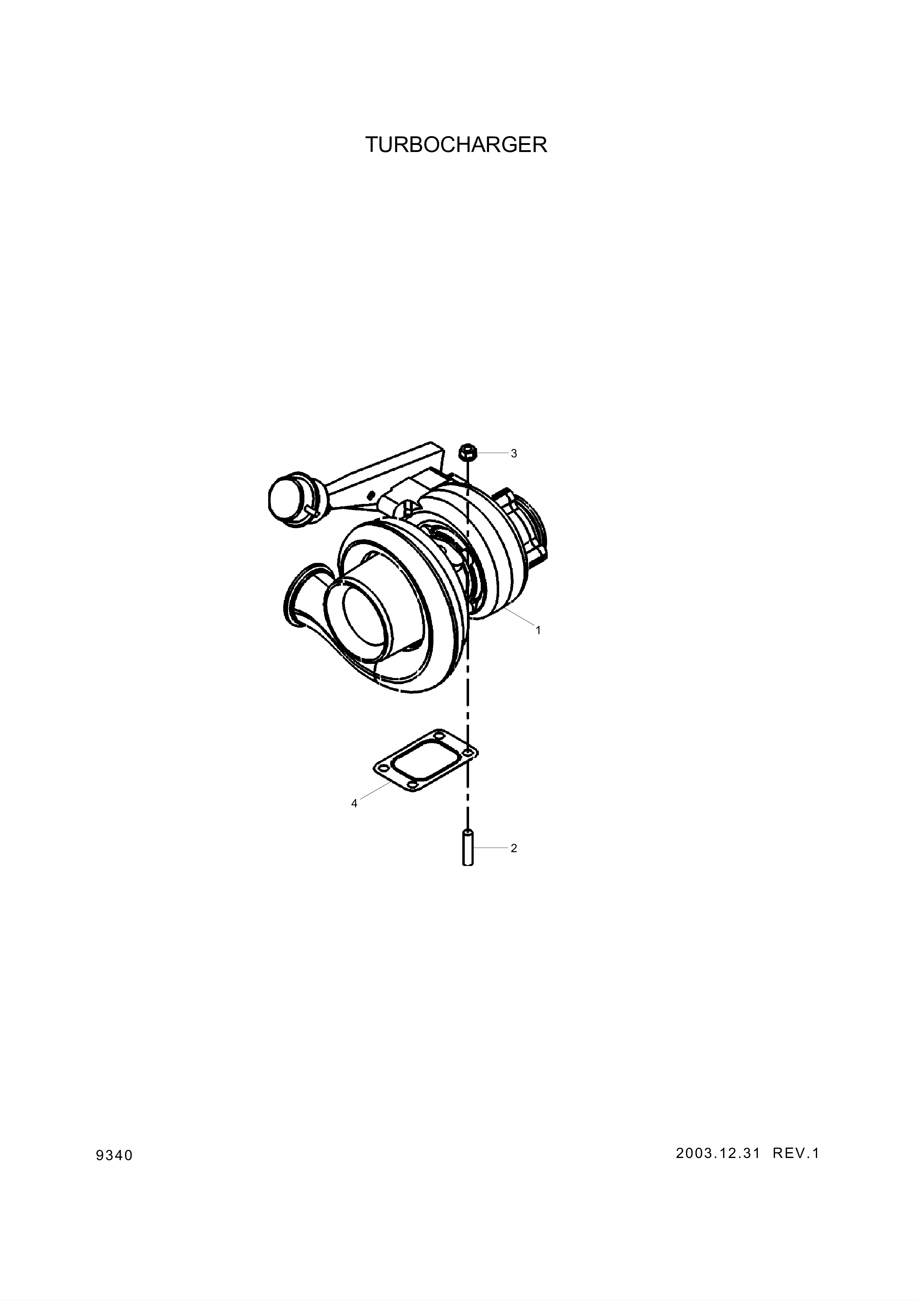 drawing for Hyundai Construction Equipment 3596633 - TURBOCHARGER